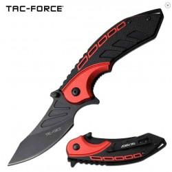 TF1008RD Couteau Tactical Urban Tac Force A/O Lame Acier 3Cr13 Manche Alu Black/Red - Livraison Gratuite