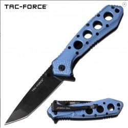 TF1010BL Couteau Tactical Tanto Tac Force A/O Lame Acier 3Cr13 Manche Blue Linerlock - Livraison Gratuite