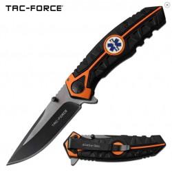 TF1013EM Couteau Emergency EMT Tac Force A/O Lame Acier 3Cr13 Manche Black/Orange - Livraison Gratuite