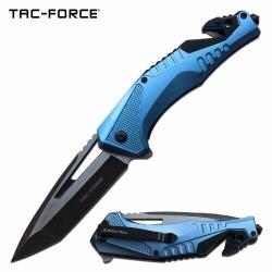 TF1015BBK Couteau de Secours Tac Force A/O Lame Acier 3Cr13 Brise Vitres Coupe Ceintures - Livraison Gratuite