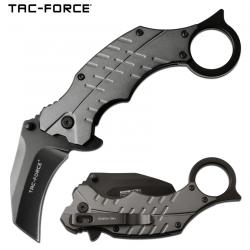 TF1020GY Couteau Tac Force Karambit A/O Gray Lame Acier 3Cr13 Manche Aluminium Linerlock Clip - Livraison Gratuite
