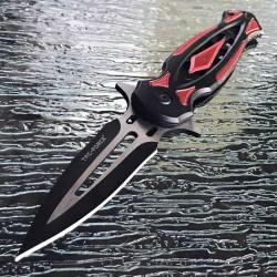TF1023RD Couteau Tac Force Tactical A/O Lame Acier 3Cr13 Manche Black/Red Alu Linerlock Clip - Livraison Gratuite