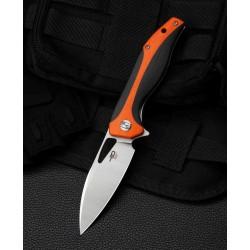 Couteau Bestesh Komodo Black/Orange Lame Acier D2 Manche G10 Linerlock Clip BTKG26C - Livraison Gratuite