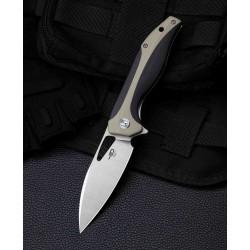 Couteau Bestesh Komodo Black/Tan Lame Acier D2 Manche G10 Linerlock Clip BTKG26B - Livraison Gratuite
