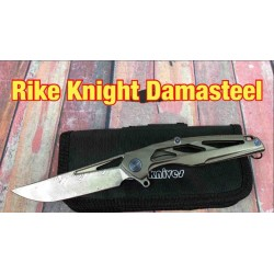 RKKNIGHTD Couteau Rike Knife Knight Framelock Damasteel Blade Titanium Handle Clip - Livraison Gratuite