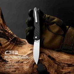 J1917CF Couteau CJRB Black Lame Acier 12C27 Manche Fibre de Carbone IKBS Linerlock Clip - Livraison Gratuite