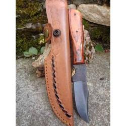 Couteau Bushcraft Skinner Lame de Scie Manche Bois Etui CUir Fabrication Artisanale SM0016 - Livraison Gratuite