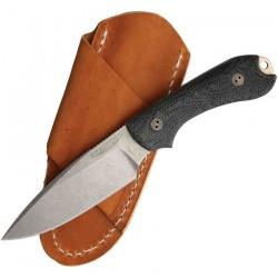 Couteau Bradford Knives Guardian 3 Lame Acier AEB-L Manche Black Micarta Etui Cuir Made USA BRAD3FE101A - Livraison Gratuite