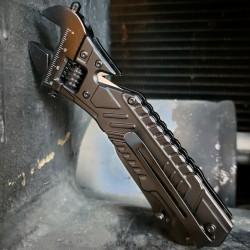 Clef à Molette Couteau S-Tec A/O Lame Acier 440C Manche Aluminium STTS100BK - Livraison Gratuite