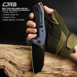 Couteau CJRB Tigris Blue/Black Lame Acier AR-RPM9 Manche G10 IKBS J1919BU - Livraison Gratuite