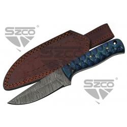 Couteau Damas Blue Exotic Hunter Lame 256 Couches Manche Bois Etui Cuir DM1290 - Livraison Gratuite