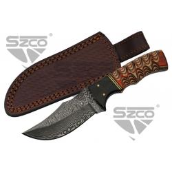 Couteau Damas Wood & Horn Hunter Lame 256 Couches Manche Bois Etui Cuir DM1289 - Livraison Gratuite