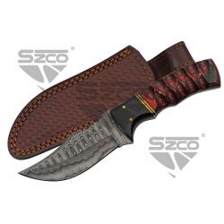 Couteau Damas Wood & Horn Hunter Lame 256 Couches Manche Bois Etui Cuir DM1288 - Livraison Gratuite