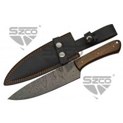 Couteau Damas Bushcraft & Cuisine Lame 256 Couches Manche Noyer Etui Cuir DM1279 - Livraison Gratuite