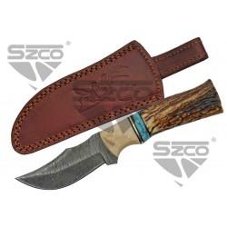 Couteau Damas Skinner Stag/Turquoise Lame 256 Couches Etui Cuir DM1274 - Livraison Gratuite