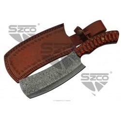 Couteau Couperet Damas Lame 256 Couches Manche Bois Etui Cuir DM1276 - Livraison Gratuite