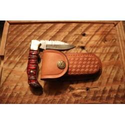 Couteau Damas Twisted Wood Lame 128 Couches Manche Bois Lockback Etui Cuir DM1284 - Livraison Gratuite