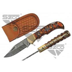 Couteau Damas Twisted Wood Lame 128 Couches Manche Bois Lockback Etui Cuir DM1286 - Livraison Gratuite