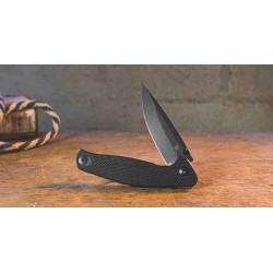 Couteau Tactical ABKT Tac Catalyst Black Lame Acier D2 Manche G-10 IKBS Linerlock Clip AB1026B - Livraison Gratuite