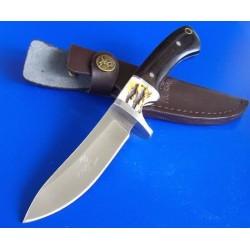 ER087 Couteau Elk Ridge Hunter Lame Acier 440 Manche Bois & Imitation Bois de Cerf Abs Etui Cuir - Livraison Gratuite
