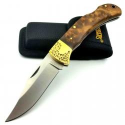 Couteau Marbles Large Manche Bois Lame Acier 440 Lockback Etui Nylon MR562 - Livraison Gratuite