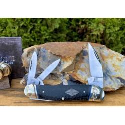 Couteau Rough Ryder Seahorse Whittler Black Micarta 3 Lames Acier Carbone T10 RR2217 - Livraison Gratuite