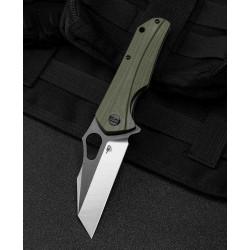 Couteau Bestech Operator Green Lame D2 Black/Satin Manche G10 Linerlock Clip BTKG36C - Livraison Gratuite