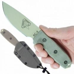 RC3PDT Couteau de Survie Esee Model 3 Standard Edge Desert Tan Acier 1095 Etui kydex Made In USA - Livraison Gratuite