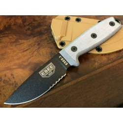 RC3S Couteau Esee Model 3 Lame Acier Carbone 1095 Serr Manche Micarta Made USA - Livraison Gratuite