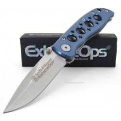 Couteau Smith&Wesson ExtremeOps Linerlock Acier 440C Manche Aluminium SW105BL - Livraison Gratuite