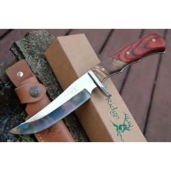 Couteau Elk Ridge Hunter Lame Acier 440 Manche Cocobolo & Burlwood Etui Cuir ER085 - Livraison Gratuite