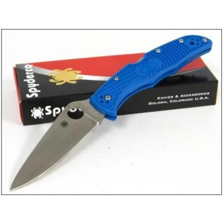 Couteau SPYDERCO Blue ENDURA 4 Flat Ground Plain Edge SC10FPBL - Couteau SPYDERCO Made In Japan