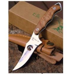 Couteau Skinner de Chasse ELK RIDGE Lame Acier 440 Manche Bois Etui Cuir ER059 - Livraison Gratuite