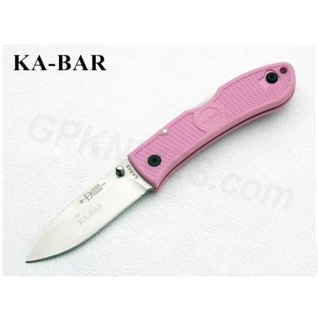 COUTEAU Kabar Dozier Folding Hunter Pink KA BAR acier AUS8 - KA4062PK