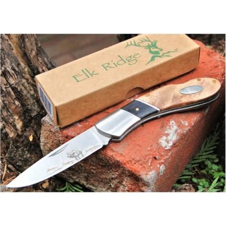 ER072D Beau Couteau ELK RIDGE CHASSE Cerf - Dessin sur Lame