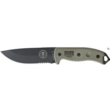 ES5SKOBK Rat Cutlery / Esee Knives Model 5 Serrated - Couteau Combat Survie Made In USA