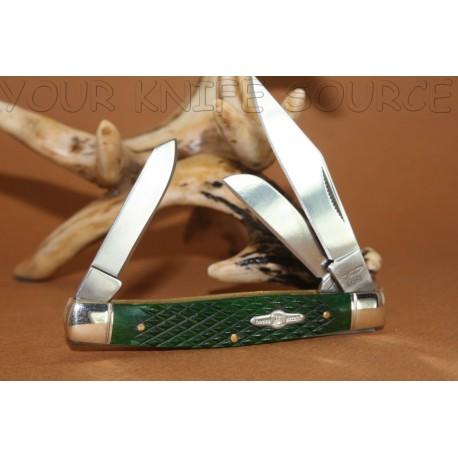 Couteau Canif Rough Rider Knives Green Gunstock Stockman NM Knife RR587 Manche en Os Couteau 3 lames