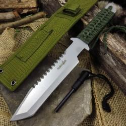 Couteau de Survie Lame Acier Inox Manche Paracorde Etui Nylon + Allume FEU M3371 - Livraison Gratuite