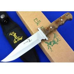 Couteau Bowie de Chasse Elk Ridge Fixed Blade Hunter Lame Acier Carbone/Inox Manche Bois ER101 - Livraison Gratuite