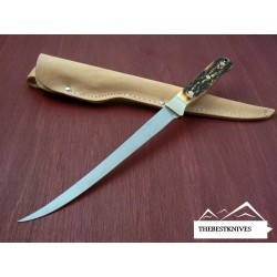 Couteau à Filets Schrade Uncle Henry Steelhead Manche façon bois de cerf SCH167UH