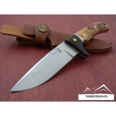 Couteau ELK RIDGE HUNTER CHASSE CAMPING Acier 440 Manche en bois housse en cuir ER065
