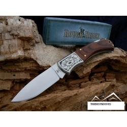 Couteau de Poche Rough Rider Gravures Laser Manche Bois Acier 440 RR182 - LIVRAISON GRATUIE