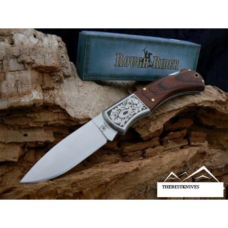 Couteau de Poche Rough Rider Gravures Laser Manche Bois Acier 440 RR182