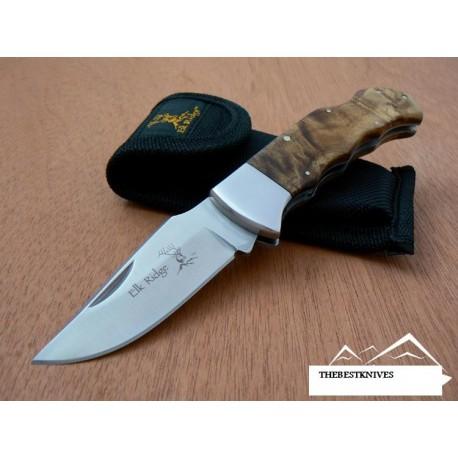 Couteau de Chasse avec étui Acier 440 Manche Bois Cran d'arrêt Elk Ridge ER138