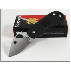 Couteau SPYDERCO SQUEAK Black FRN Plain Folding Knife Acier N690CO Made In Italy SC154PBK - LIVRAISON GRATUITE
