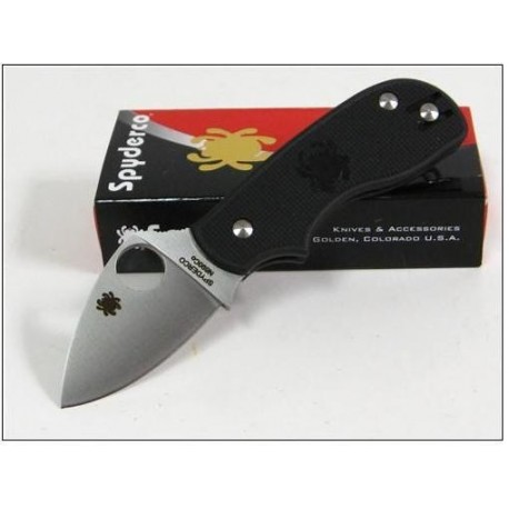 Couteau SPYDERCO SQUEAK Black FRN Plain Folding Knife Acier N690CO Made In Italy SC154PBK