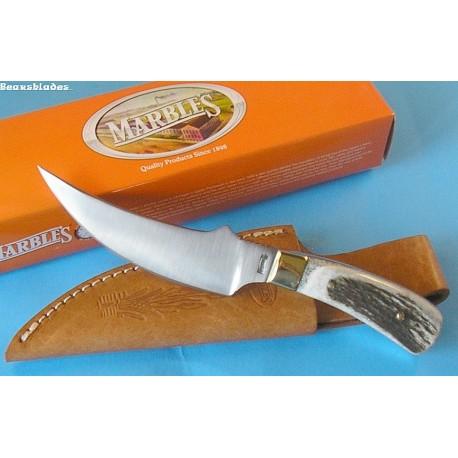 Couteau de Chasse Skinner MARBLES Manche Bois de Cerf Acier 440 MR800 - Livraison Gratuite