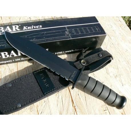 Ka-Bar Black Fighter Couteau de combat Acier 1095 Manche kraton Couteau KABAR made In USA KA1271 - Livraison Gratuite