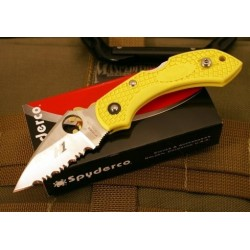 Couteau Spyderco Dragonfly 2 Yellow Acier H-1 Serrated Made In Japan SC28SYL2 - Livraison Gratuite