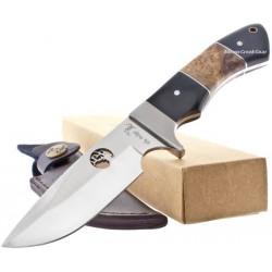 Couteau de Chasse Elk Ridge Hunter Manche en bois différents Acier 440 Housse Cuir ER073 - Livraison Gratuite
